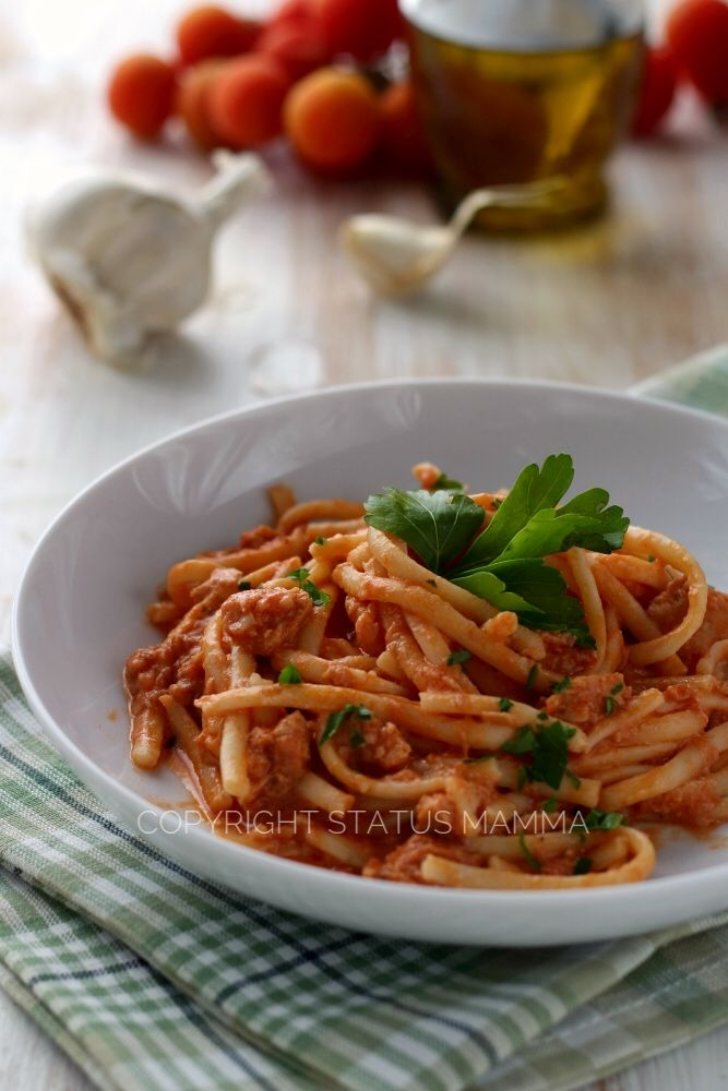 Pasta cremosa al tonno e mascarpone ricetta veloce con ricotta Statusmamma gialloblog food recipes al sugo pomodoro scatola ricetta primo di mare
