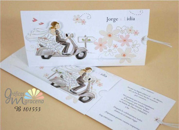 Invitación de boda novios en vespa.