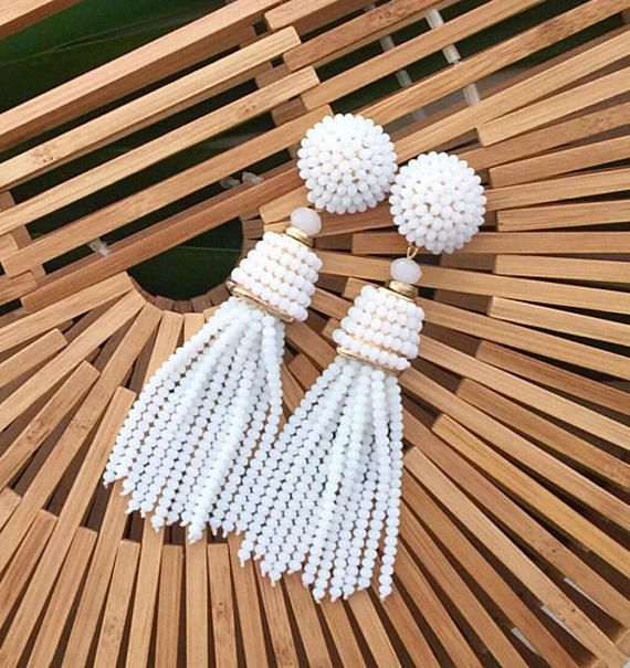 The Coquina - 3.5 Inch Pearl White Beaded Tassel Earrings by St. Armands Designs - Ships Immediately
