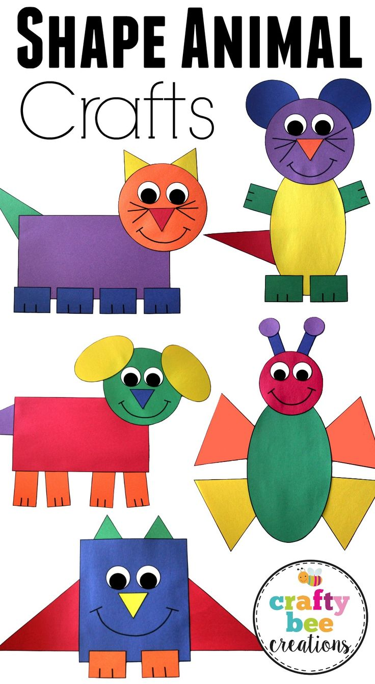 * This is a great set of crafts that will help teach your kids about different shapes. They will cut and glue to assemble each craft using construction paper.