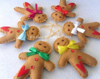 Set of 4 Gingerbread Man Christmas ornaments by acasadoguaxinim