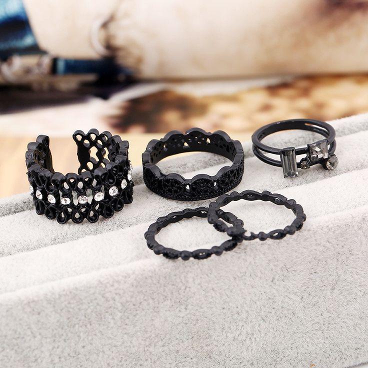 Sale 29% (6.99$) - 4Pcs Rhinestone Carving Pattern Knuckle Rings