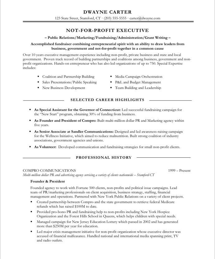 18 best Non Profit Resume Samples images on Pinterest Free - example of government resume