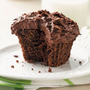 Chocolate Zucchini Cupcakes: Made with yogurt, zucchini, and carrots!  Award-winning Taste of Home recipe.