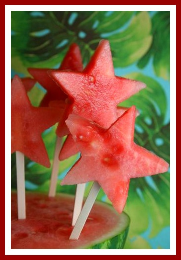 *SUCCESS*  Watermelon star pops.  I had a smaller cutter so we did skewers of 3 stars each.  Takes a while, but they stayed fresh for a couple hours and were lots of fun.