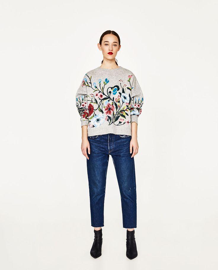 画像 1 の フラワー刺繍セーター ザラから