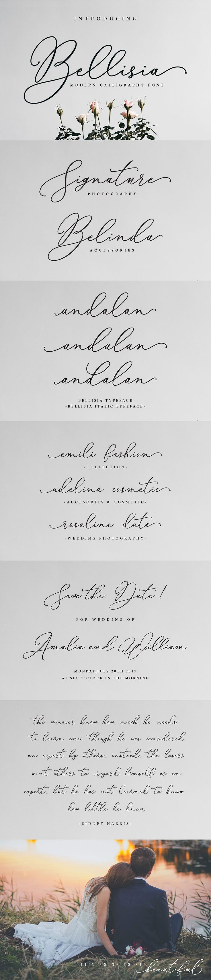 Bellisia Script is a modern #calligraphy #font. Bellisia a beautiful for #logotype, #website header, #fashion #design,#wedding card design and any more