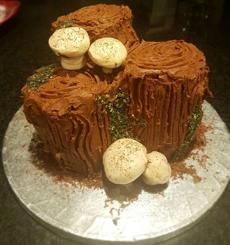 Bûche de noël with meringue  mushrooms, #yulelog  #stump #meringue #moss #christmas #chocolate