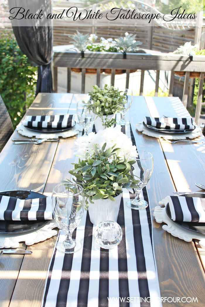 Black and White Tablescape Ideas   I love how these easy centerpieces and napkins show off this farmhouse table! www.settingforfour.com