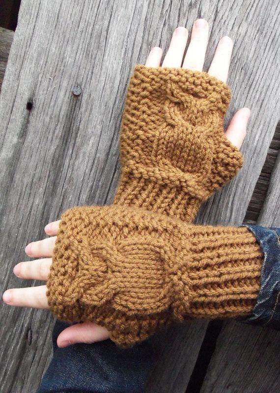 fingerless knit owl gloves