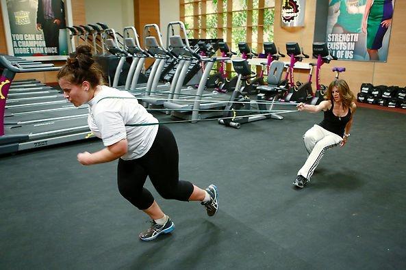 Danni definitely got a workout pulling Jillian around the gym. #BiggestLoser