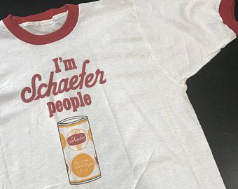 Rare Vintage 80s NOS Schaefer Beer Ringer T Shirt Adult L XL Retro Collectible Can Graphic New Red White Novelty Ad Unique Made in USA