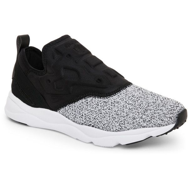 Reebok Black & White Furylite Slip-On Lux Sneakers (€40) ❤ liked on Polyvore featuring shoes, sneakers, black, black and white shoes, black slip-on shoes, black and white sneakers, black white sneakers and black slip on shoes