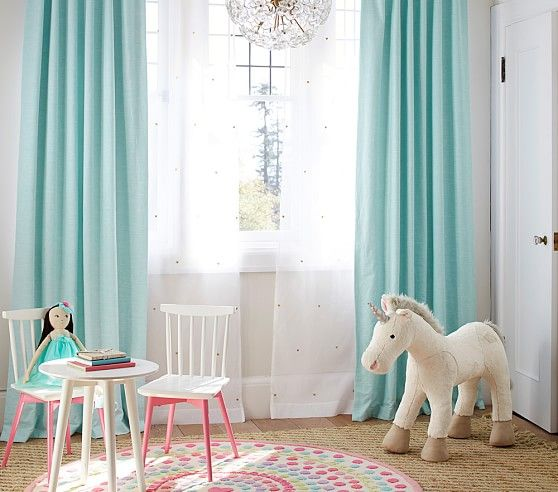 Aqua curtains? Bright Linen Blackout Panel | Pottery Barn Kids