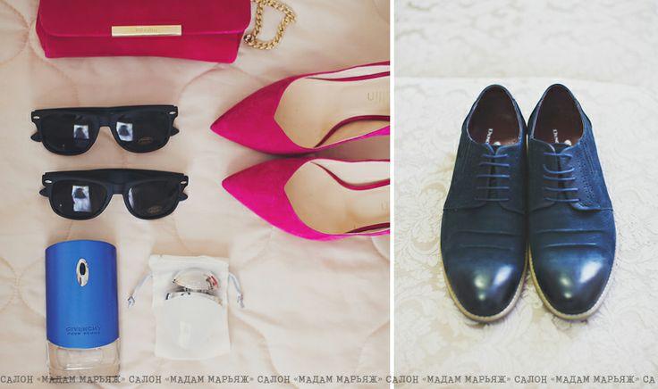Туфли Ballin, красивый клатч в тон ярких туфлей, ароматный мужской запах и тёмно-синие туфли под костюм жениха!