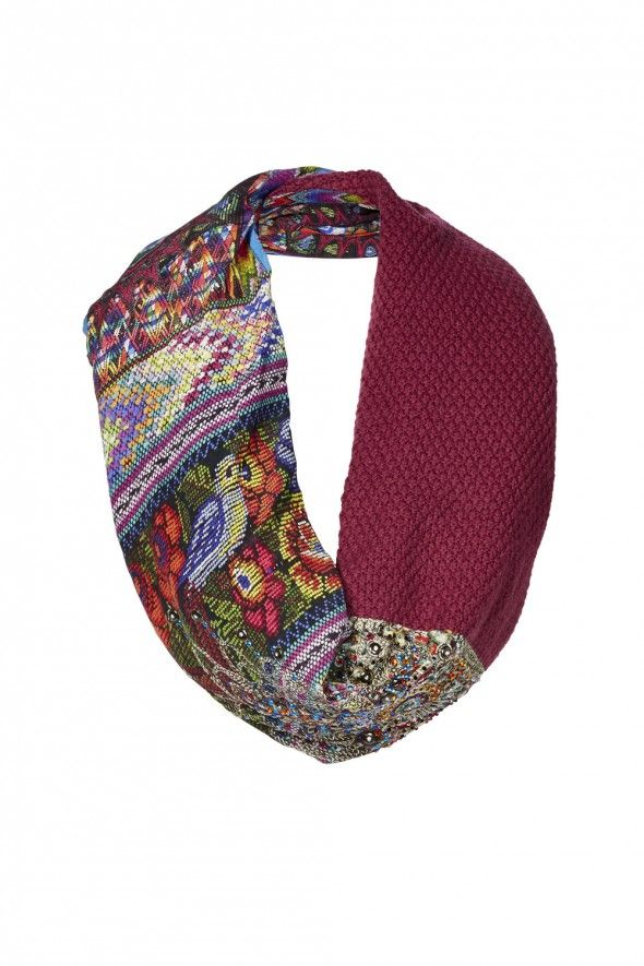 Tapestry of time double sided scarf (wool and silk crepe)