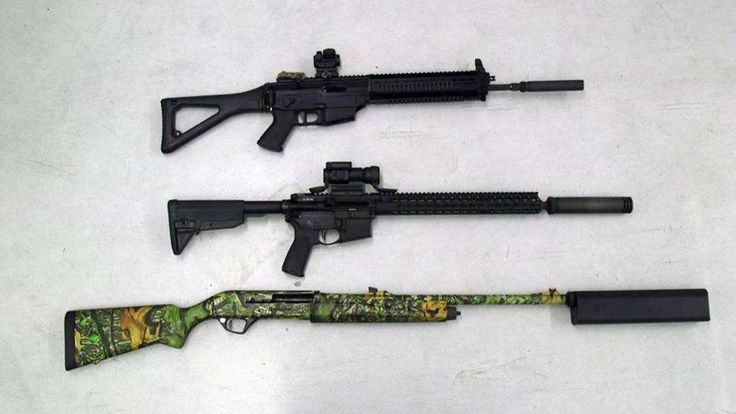 Firearms with silencers at a gun range at the NRA headquarters in Fairfax, Va.