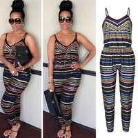 Wish | Women Sleeveless Sling Jumpsuit Women Casual Stripped Bodysuit V Neck Backless Playsuit Summer Party Outfits