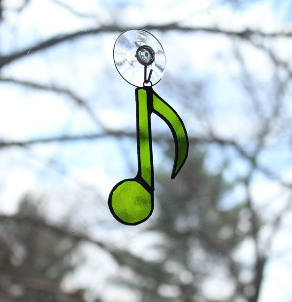 Musical note stained glass ornament by ForgingAheadMetal on Etsy