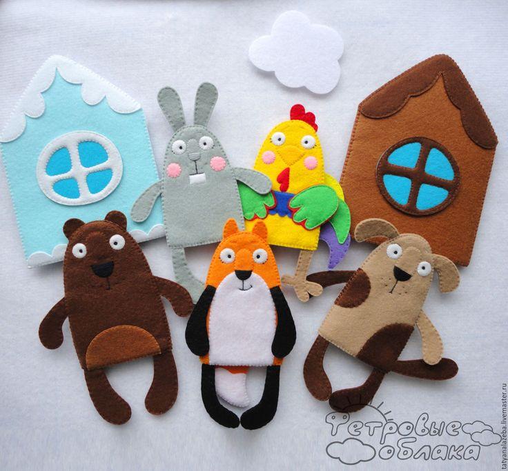 """Купить Пальчиковый театр """"Лиса и Заяц"""" - пальчиковый театр, пальчиковые куклы, пальчиковые игрушки"""