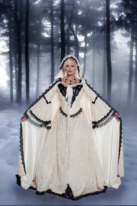 Cream and Black Fairy Medieval Gothic Wedding Set with Cape Small Sale