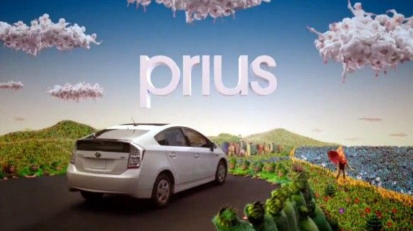 The Prius ad pegs the meter on environmental imagery. This Prius ad features weird music, dancing suns, frolicking fields of grass, and young children dressed as flowers. These ads are a little weird and that's exactly what hybrid owners crave – to be different.