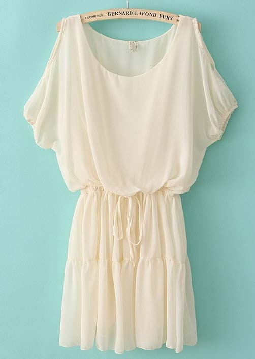 Beige Off the Shoulder Drawstring Waist Chiffon Dress