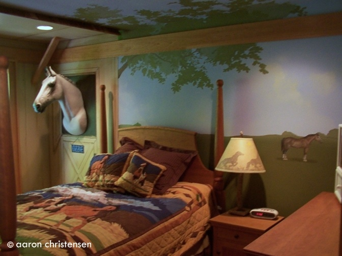 replica in her horse themed bedroom say hello to ozzy the horse