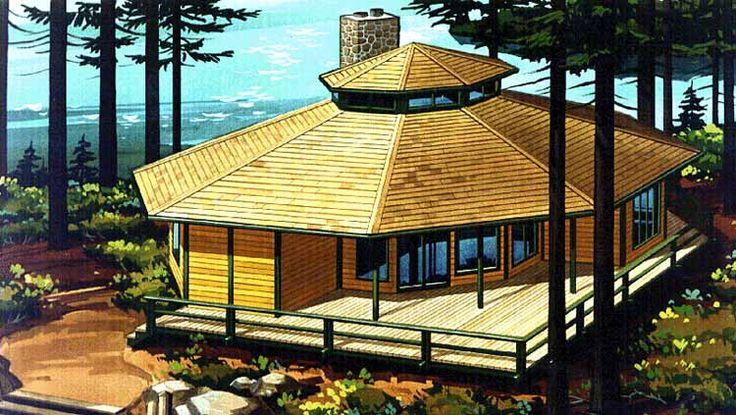 Octagon house log homes and logs on pinterest for Octagonal log cabin plans