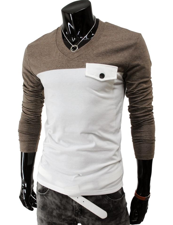 Slim fit 2 tone long sleeve t-shirt | Raddest Men's Fashion Looks