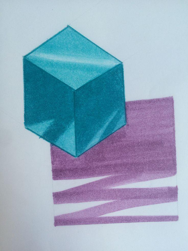 1. Hacer un cubo fugado. (2 puntos de fuga).  2. Colorear con una escala de color las 3 caras: 1era- claro 2nda-medio 3ero-obscuro  3. Dibujar cuadro integrador.  (Pluma y rotuladores)