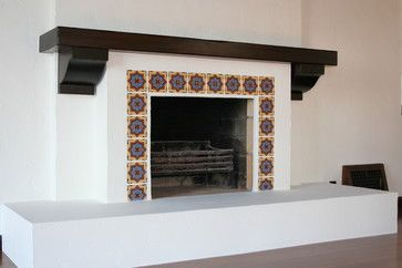 Example of fireplace spanish revival mediterranean for Mediterranean fireplace designs