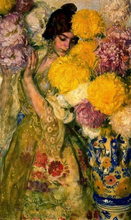 valencian` ragazza con crisantemi di José Mongrell Torrent (1870-1937, Spain)