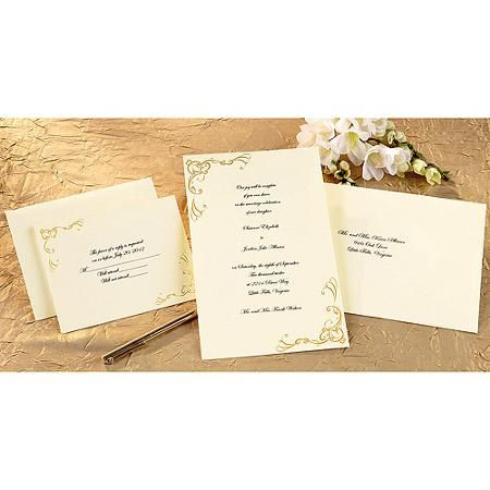 Print-Your-Own Invitations Kit Scrollwork Gold, 50/pkg - Walmart.com