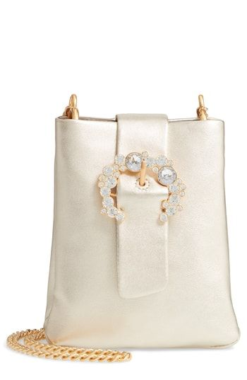 77325cdc0e Tory Burch Greer Embellished Leather Smartphone Crossbody Bag in ...