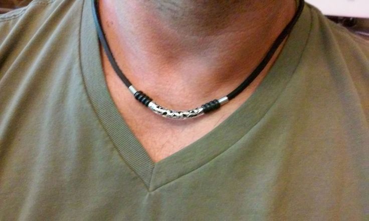 Leather Men's beaded Surfer Necklace Choker  bar style necklace