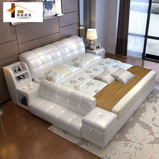 Online Shop Bedroom Furniture China Leather Bed Tatami Bed Minimalist Modern Double Bed Width Modern Bedroom Furniture Buy Bedroom Furniture Bedroom Bed Design