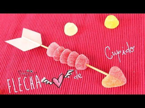 Flecha de Cupido con golosinas - Manualidades Infantiles