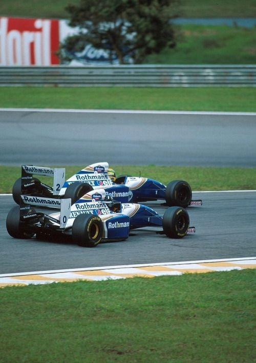 Damon Hill (#0) and Ayrton Senna (#2) - Williams FW16 (Renault) - 1994 -  Interlagos