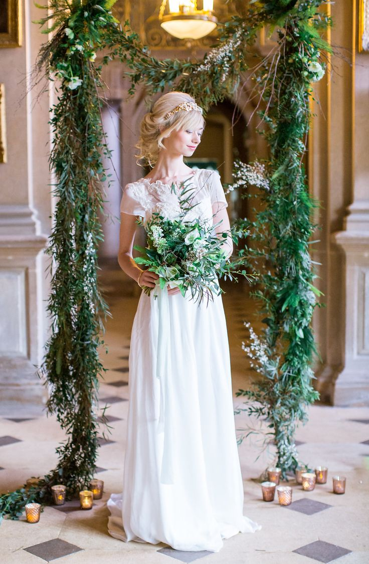 Elegant and Romantic, Green and Gold Wedding Style seen on LOVE MY DRESS uk wedding blog.  Take a peek...bridal separate by Jessica Turner Designs, photography Philippa Sian Photography and credits by super talented team on the blog