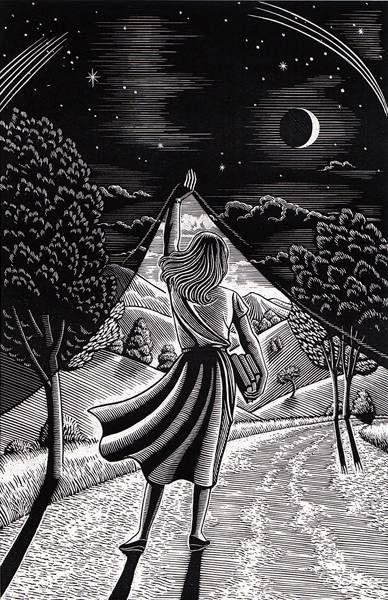 Douglas Smith Original Scratchboard 'Night & Day' - Douglas Smith - RonSusser.com