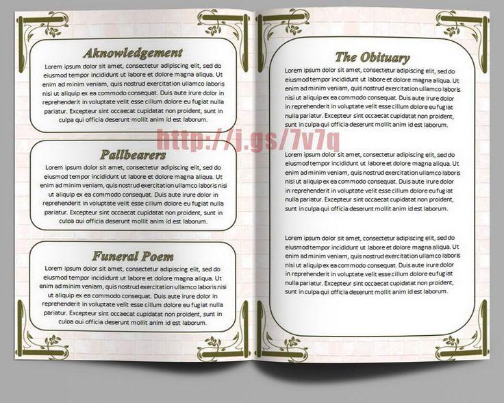 Mejores 79 imágenes de Funeral Program Templates for MS Word to - funeral service program template word