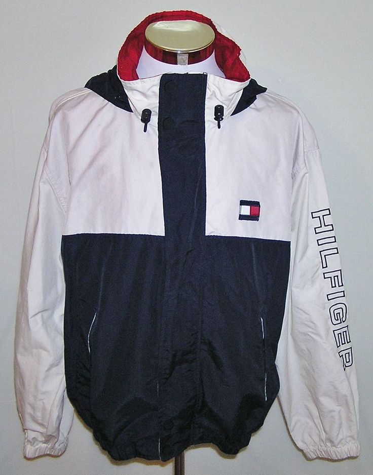 Tommy Hilfiger Vintage 90's Men's Nylon Full Zip Hooded Jacket Size XL #TommyHilfiger #BasicJacket