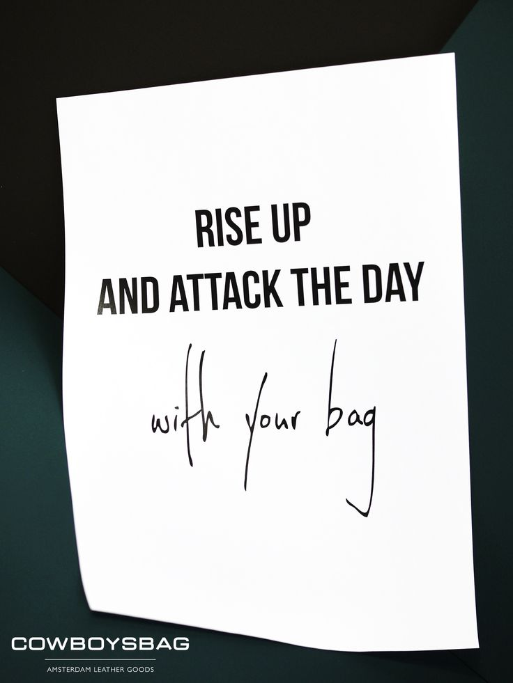 Rise up and attack the day with your bag | Cowboysbag