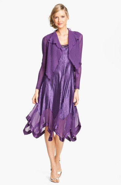 Komarov Handkerchief Hem Charmeuse Dress Chiffon Jacket in Purple ...