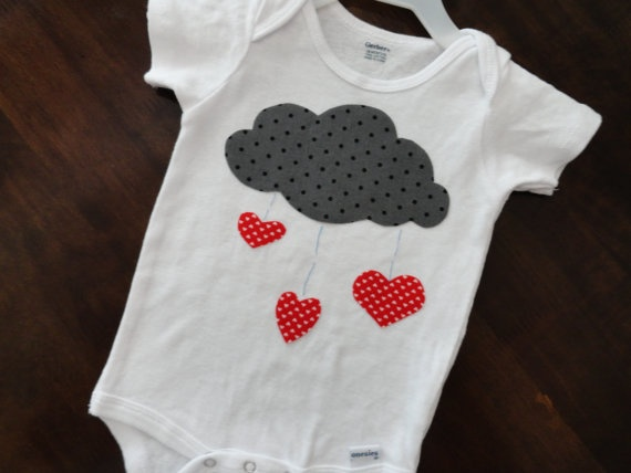 Showered with Love Onesie on Etsy, so cute for Valentines Day