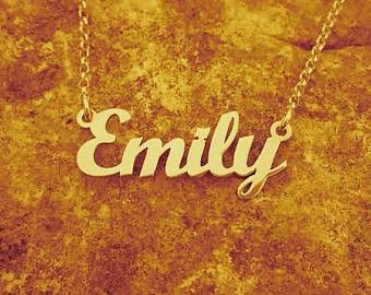 18k Gold Plated Emily Name Necklace ORDER ANY NAME Personalized Name Necklace Necklace With Name Custom Made Early Christmas Sale