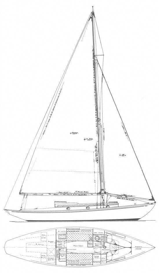 Coastwise Cruiser drawing on sailboatdata.com #