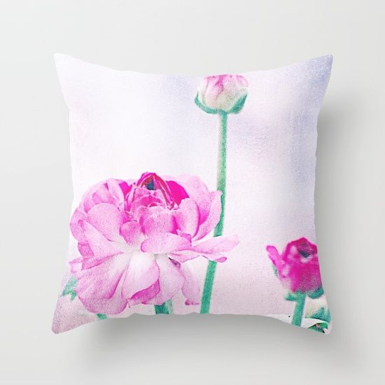 Vintage Ranunculus (7) Throw Pillow