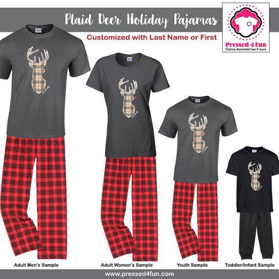 2016 Holiday Pajamas Plaid Deer Design | Christmas Pajamas | Family Matching Pajamas | Couples Pajamas